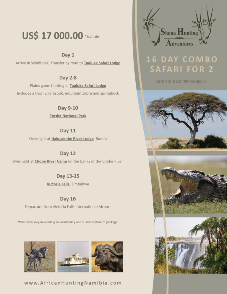 Price List | Shona Hunting Adventures Namibia